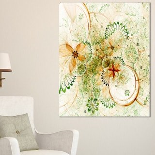 Yellow Green Grungy Floral Shapes - Large Floral Wall Art Canvas