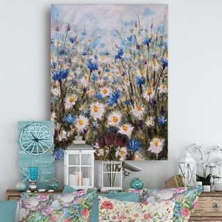 Glade of Cornflowers and Daisies - Floral Canvas Art Print