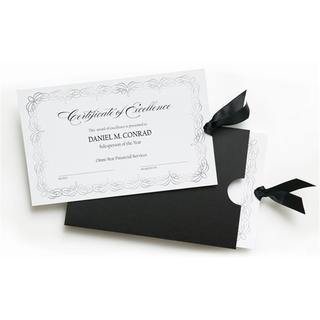 10-count White Cardstock Silver Foil Certificates with Pocket