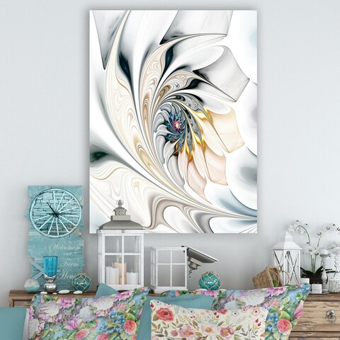 White Stained Glass Floral Art - Large Floral Wall Art Canvas