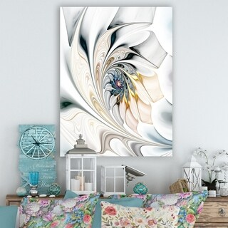 Design Art White Stained Glass Large Floral Wall Art Canvas