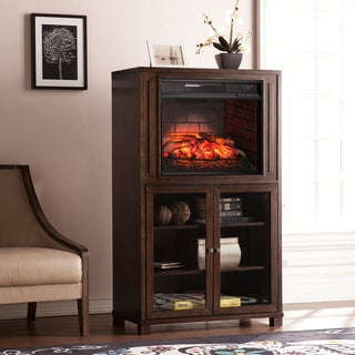 Harper Blvd Middleton Celia Espresso Infrared Electric Fireplace Storage Tower