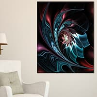 Blue Abstract Floral Shapes - Large Floral Wall Art Canvas