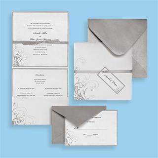 Brides Silver and White Premium 30-count Invitation Kit