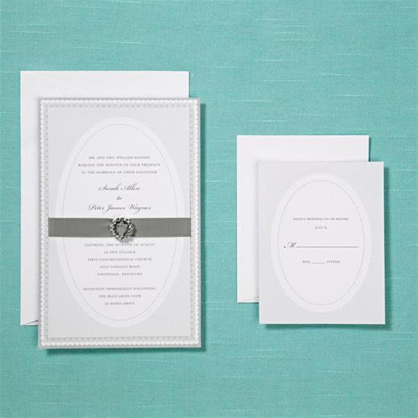 Brides Wedding Invitation Kit: Shop Brides Silver Invite With Rhinestone Buckle Kit (40