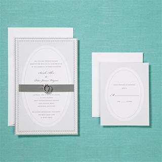 Brides Silver Invite with Rhinestone Buckle Kit (40 Count)