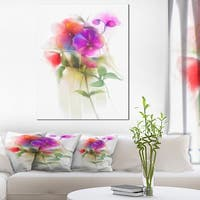Bunch of Colorful Orchid Flowers - Large Flower Canvas Wall Art - Green