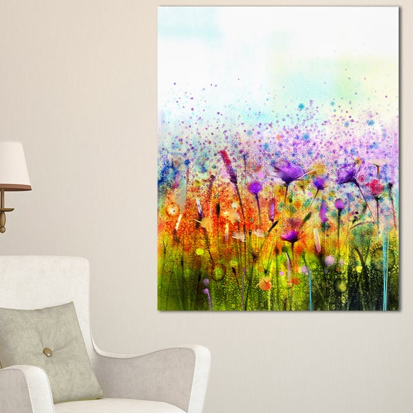 Abstract cosmos of colorful flowers large flower canvas for Large colorful wall art