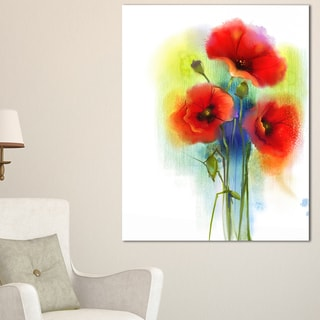 Bunch of Bright Red Poppy Flowers - Large Flower Canvas Wall Art