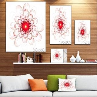 Full Bloom Fractal Flower in Red - Large Flower Canvas Wall Art
