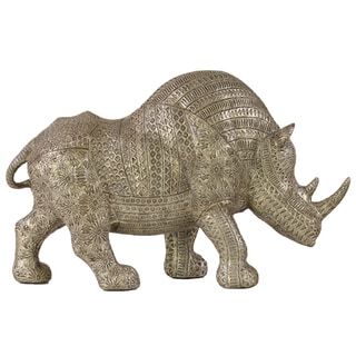 Urban Trends Collection Metallic-brown Resin Standing Rhinoceros Figurine