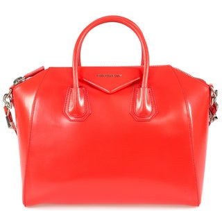 Givenchy Antigona Calfskin Leather Satchel Bag in Coral w/ Silver Hardware Size Medium