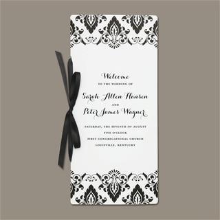 Brides Black/White Damask Program Paper (Pack of 40)