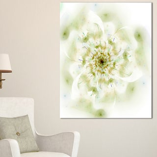Full Bloom Fractal Flower in White - Large Flower Canvas Wall Art