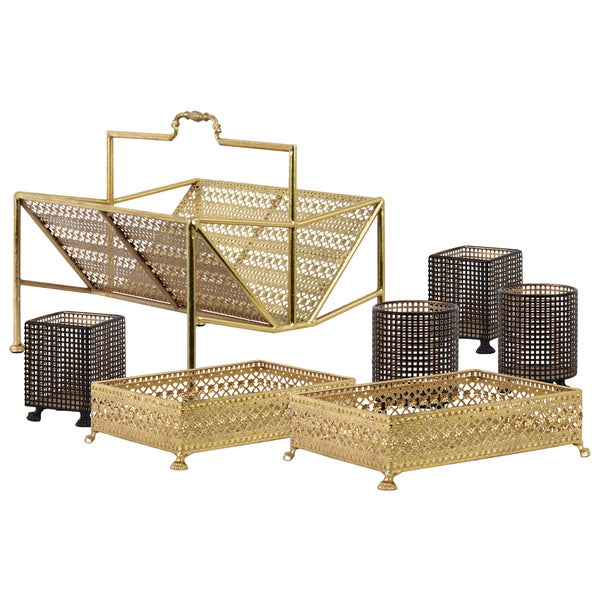 Urban Trends Collection Metallic-gold-finished Metal Office Organizer with Pierced-metal-design Body (Set of Seven)