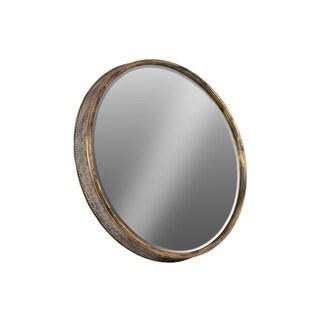 Antique Goldtone Metallic Finish Metal Round Floral Wall Mirror