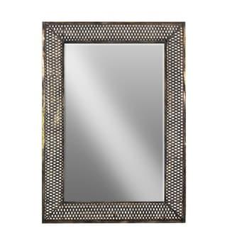Bronze Tarnished Finish Metal Lattice Frame Rectangular Wall Mirror