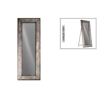 Urban Trends Collection Tarnished Bronze-finish Metal Rectangular Easel Floor Mirror with Lattice Metal Design Frame