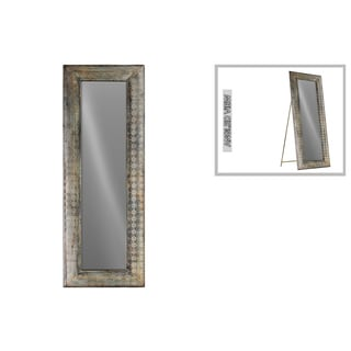 Urban Trends Collection Antique Gold Metal Rectangular Easel Floor Mirror with Pierced Verdigris-finish Frame Design