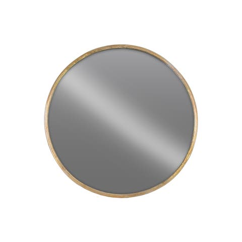 Gold Metal Round LG Tarnished Finish Wall Mirror - Antique Black - A/N