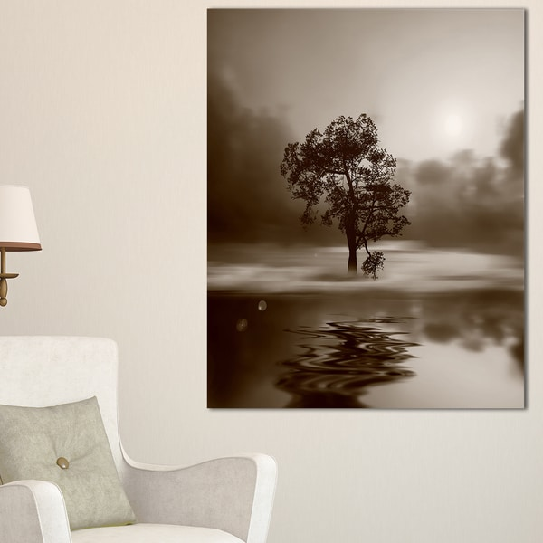 Alone Tree on Island in Sepia - Extra Large Wall Art Landscape - Multi-color