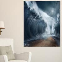 Waves over the Parted Sea Path - Large Seashore Canvas Print