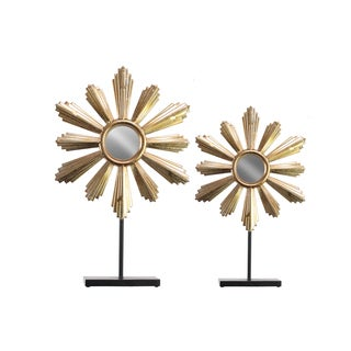 Urban Trends Collection Goldtone Metal Floral Jewelry Holder (Set of 2)