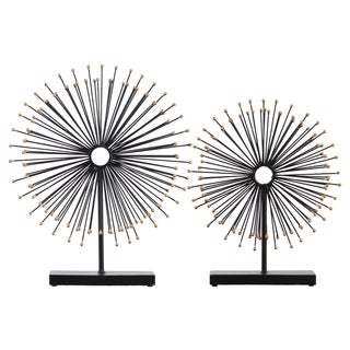 Black/Gold Metal Sea Urchin Jewelry Holder with Rectangular Stand (Set of 2)