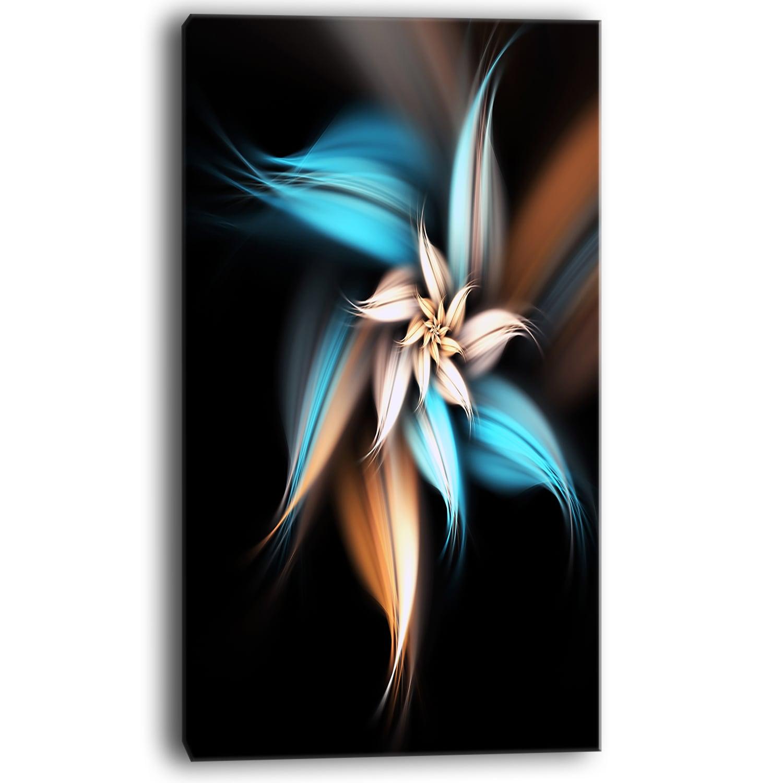 Blue Brown Digital Art Fractal Flower Large Floral Canvas Art Print Overstock 12417469