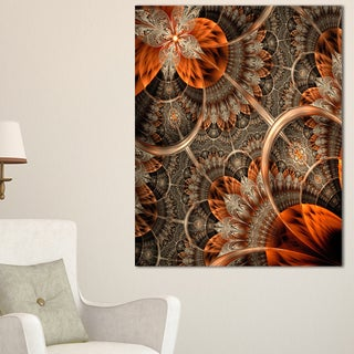 Orange Brown Digital Art Fractal Flower - Large Floral Canvas Art Print