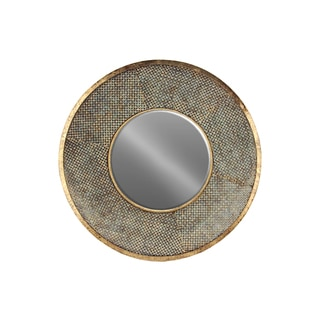 Rust-finished Gold Metal Round Mirror with Pierced Metal Frame