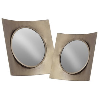 Urban Trends Collection Rustic Silver Finish Metal/Wood Concave Square Frame Wall Mirror (Set of 2)