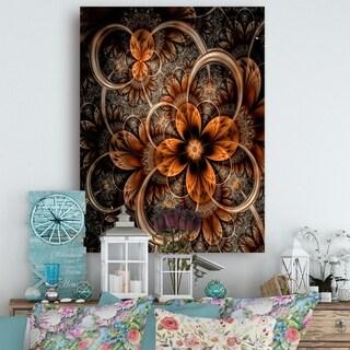 Dark Orange Digital Art Fractal Flower - Large Floral Canvas Art Print