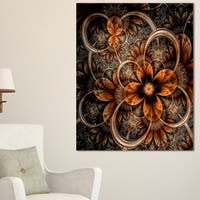 Dark Orange Digital Art Fractal Flower - Large Floral Canvas Art Print