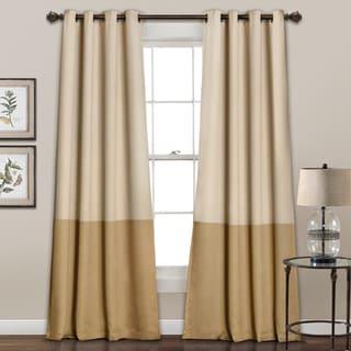Lush Decor Room Darkening Color Block Curtain Panel Pair