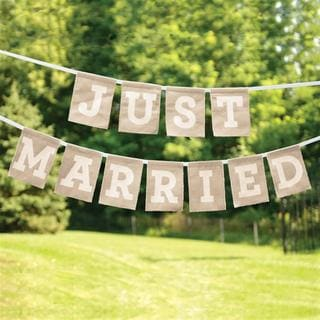 Brides Just Married Burlap Banner