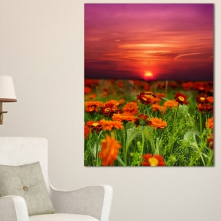 Sunset Flowers with Red Sky - Modern Landscape Wall Art Canvas