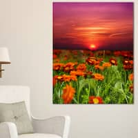 Sunset Flowers with Red Sky - Modern Landscape Wall Art Canvas - Green