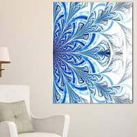 Fractal Flower in Soft Blue Digital Art - Large Floral Canvas Art Print