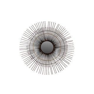 Metal Round Wall Mirror with Sunburst Design Coated Finish Black