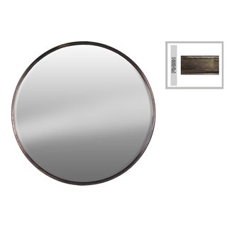 Tarnished Bronze Finish Round Metal Wall Mirror LG - Antique Bronze - A