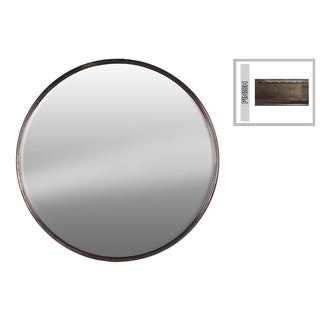 Tarnished Bronze Finish Round Metal Wall Mirror LG