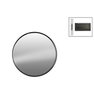 UTC37515 Gunmetal Grey Tarnished-finish Metal Round Wall Mirrror - Antique Silver - N/A