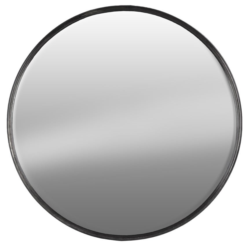 Urban Trends Collection Gunmetal-grey Finish Metal Round Wall Mirrror - Grey - A/N (Metal Tarnished Finish Gray)