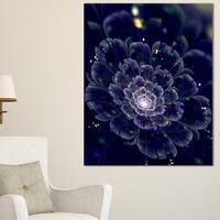 Dark Blue Fractal Flower Digital Art - Large Floral Canvas Art Print