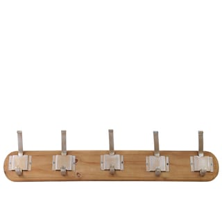 Urban Trends Collection Sienna Brown Varnished Wood Hanger with 10 Metal Champagne Hooks