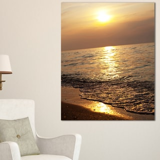 Gloomy Beach and Waters at Sunset - Modern Beach Canvas Art Print