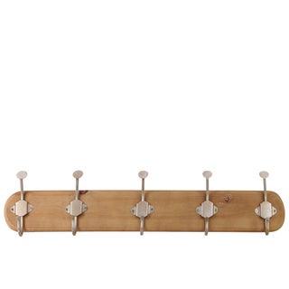 LG Varnished Sienna Brown Wood Finish Wood Hanger with 10 Metal Champagne Hooks