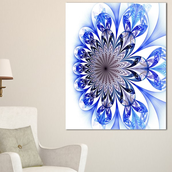 Light Blue Fractal Flower Digital Art - Large Floral Canvas Art Print