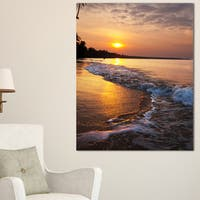 White Foaming Waves at Sunset - Modern Beach Canvas Art Print